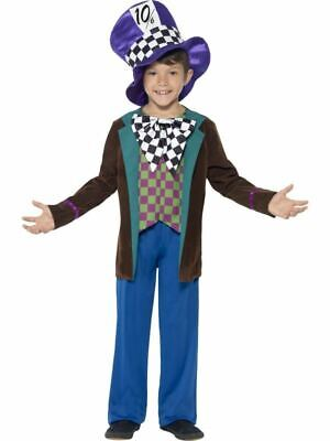 Boys Kids Deluxe Mad Hatter Fancy Dress Costume Alice Wonderland Book Day Outfit