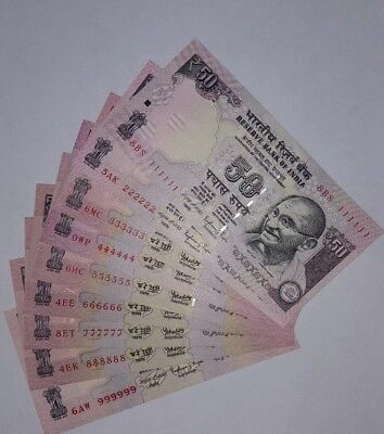 India Rs.50 Banknotes, Solid Fancy Number 111111 To 999999, 9 Notes Set, Unc