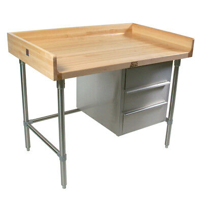 "John Boos BT3S04 96""Wx30""D Baker's Table w/ Open Cabinet Base & 4"" Upturn"