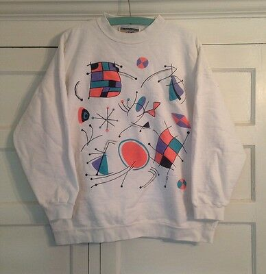 Vtg 80s 90s Beverly Hills Polo Club Sweatshirt Pink Teal Abstract Medium USA