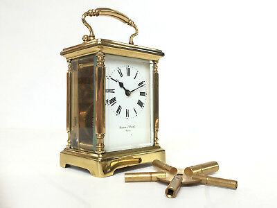 VINTAGE French Mappin & Webb Brass Carriage Clock Paris - WORKING 8 DAY