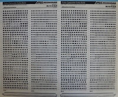 Mecanorma Dry Transfer Lettering Sheet A3, Typography, #72 Folio Caravelle 3.1mm