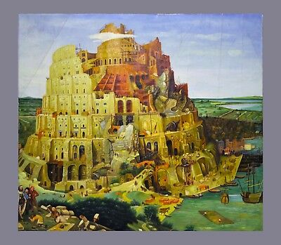 Antique Vintage Oil Painting of The Tower of Babel 19th Century Reproduction