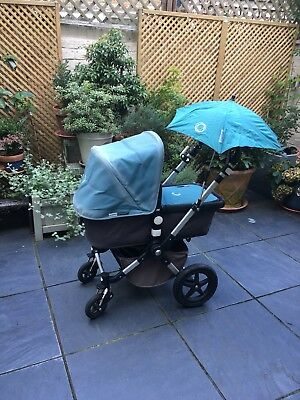 Bugaboo cameleon 3, grey and petrol, pram/stroller with bugaboo accessories