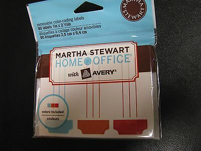 3 packs MARTHA STEWART new AVERY 90 REMOVABLE COLOR CODING labels SQUARE office