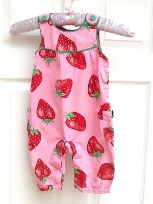 Mini Boden Girls Strawberry Dungarees 12-18 Months