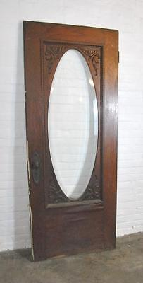 "Oak 80"" by 31.75"" Entry Door with Oval Beveled Glass"