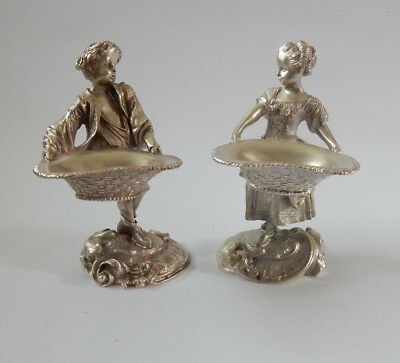 Pair French Silverplated Lady & Gentleman Salt Condiment Dish Signed Depose