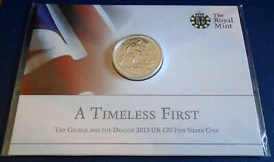 2013 Twenty Pounds, 1st year, .999 silver, mint sealed card of issue - top grade