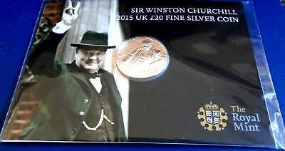 2015 Twenty Pounds, Churchill Death 50th, .999 silver, card of issue - top grade