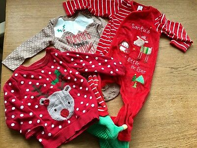 Baby girl Christmas Bundle 9-12 Months Jumper Romper Elf Tu & Primark