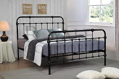 Sandy Double Metal Bed Frame Black Hospital Style Small Double King Size Beds