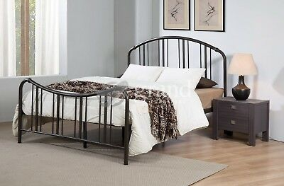 Jacob Curvy Double Metal Bed Frame Black Hospital Style King Size Victorian Beds