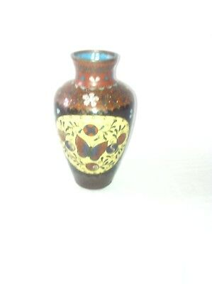 Small Japanese or Chinese cloisonne vase decorated with Flowers and Butterflies