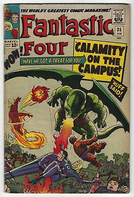 Fantastic Four #35 Silver Age Marvel Comic Book 5.5 FN- Stan Lee Jack Kirby