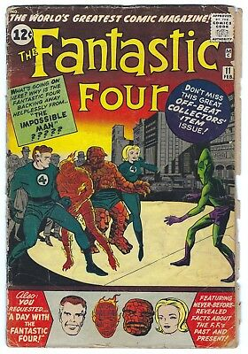 Fantastic Four #11 Silver Age Marvel Comic Book 2.0 GD Jack Kirby Stan Lee