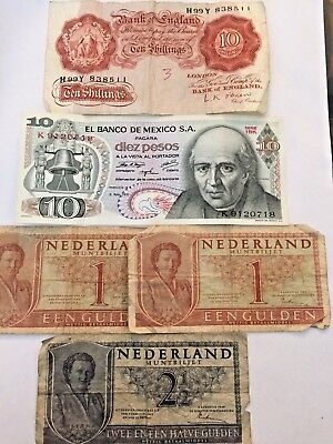 Foreign Paper Currency Lot, Mexico, Nederland, England