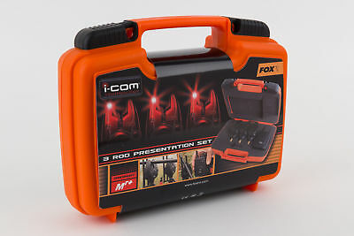 Fox Micron Mr+ Icom Remote 3 Rod Bite Alarm Presentation Set *red* - Cei138
