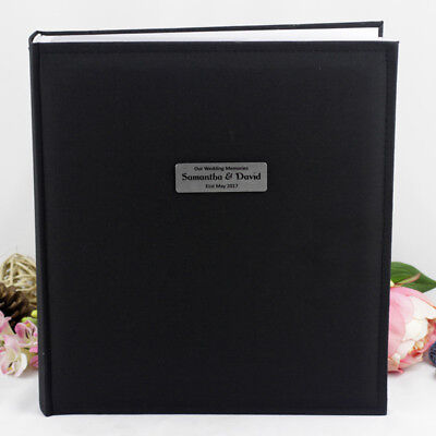 Black Wedding 500 Photo Album - Personalised - Add a Name & Message