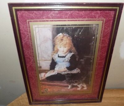 "Home Interior Pictures  16"" X 20"" Little Girl With Kitten"