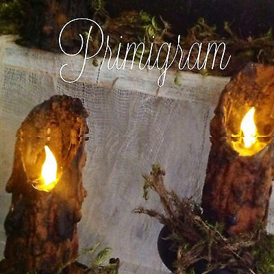Primitive Grungy Witchy Salem Timer Waxless Halloween Candle Set Of 2 Halloween