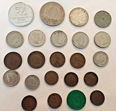 Lot 21 Vintage Foreign Coins Coinage Nice Mix Foreign & US Coins & Tax Tokens