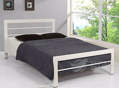 Brooklyn Contemporary White Metal Bed Frame Double Small Double Single Bedsteads