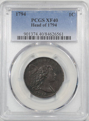 1794 Flowing Hair Large Cent - Head Of 1794 Pcgs Xf-40. From The Reeded Edge~