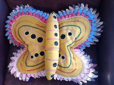 30's/ 40's Vintage Folk Art Whimsy Handmade Yellow Butterfly Stuffed Pillow