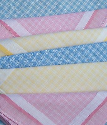 Vintage French Country Cottons Fabric Squares Checked Handkerchief Hankie Napkin