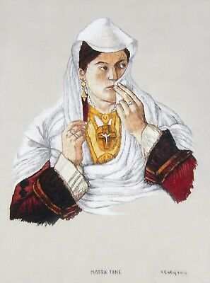 """Embroidered painting """"Motra Tone"""" 1880, traditional costume from Shkodra Albania"""