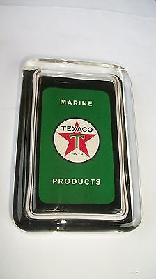 Texaco Marine Boat Oil Gas Station Green Advertising Sign Logo Glass Paperweight