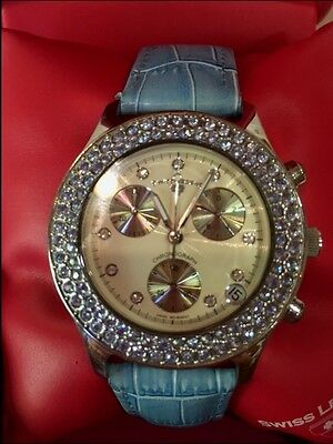 New SWISS LEGEND MONTECO CRYSTAL CHRONOGRAPH Ladies  Wrist Watch MSRP $195.00