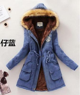 Winter Womens Warm Fur Collar Coat Parka Cotton Trench Hooded Jacket Hot 338