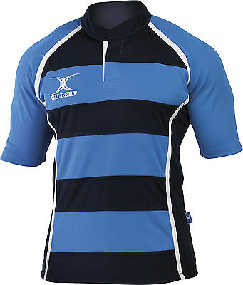 Clearance Line New Gilbert Rugby Xact Shirt Sky/ Navy Hoops - Various Sizes