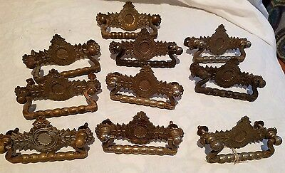 Drawer Handles, Pulls, Stamped, Sunflower, Vintage, Antique, Set Of 10 Free Ship