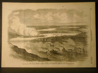 New Madrid Attack Birds Eye  View engraving 1862