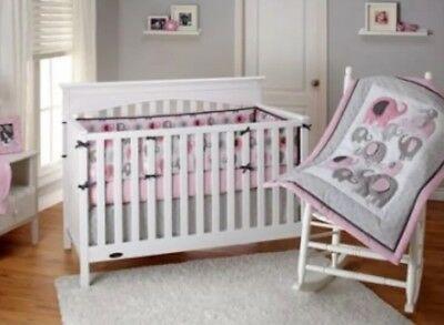 Little Bedding By NoJo Elephant Time Pink & gray Elephant 4-Piece Crib Girl Set