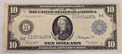 Series 1914 $10 US Blue Seal Federal Reserve Note Richmond Virginia Large Note
