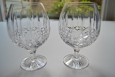 Royal Doulton crystal two cut glass brandy balloon glasses in box - excellent