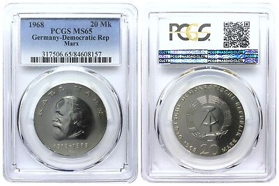 20 Mark 1968 Marx Democratic Republic East Germany Pcgs Ms65