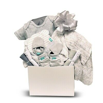Baby Unisex Gift Basket with Hat, Receiving Blanket, Socks, Romper and More