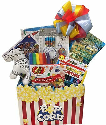 A Boy's Gift Basket with a Puzzle, Pencil Case, Crayons, Sudoku & More