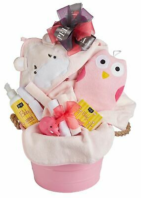 Baby Girl Bath Gift Basket with Hooded Towel, Washcloths, Organic Soap & Lotion