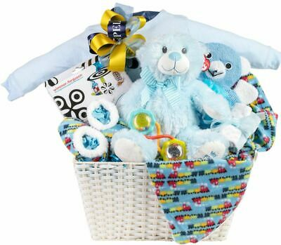 Baby Boy Gift Basket with Romper, Blanket and Slipper Set, Plush and Toys