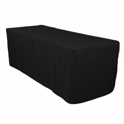 Polyester Tablecloth 6 Ft Table Skirts Folding Table Fitted Banquet Black Cover