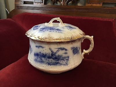 Antique Warwick China Flow Blue Delft Chamber Pot 19th Century