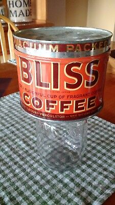 Vintage Bliss Coffee 1 lb can tin, with lid, opened