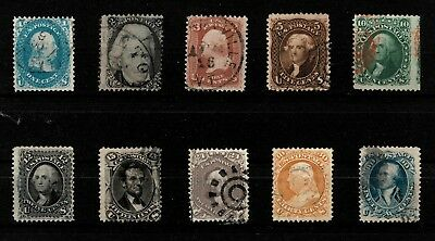 USA, 1861, Presidents 1-90c, Mi. #16-25, Sc. ex. 63-73#, cancelled, certified