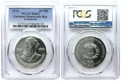 20 Mark 1976 Liebknecht Democratic Republic East Germany Pcgs Ms67